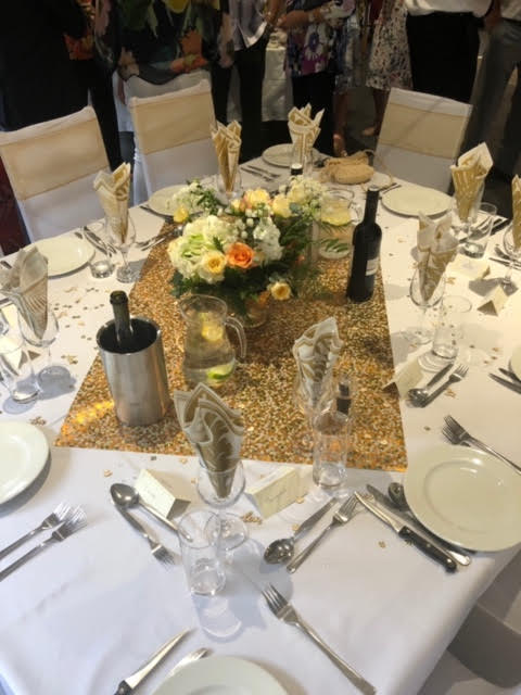 Golden Wedding Anniversary Table Setting